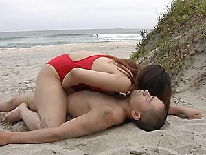 Sexy Asian Lifeguard Gives Mouth-To-Cock Respiration on the Beach