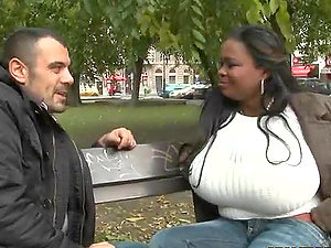 Hugely Titted Black Miosotis Exposes Her Massive Natural Tits