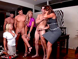 Three Cougar Porn industry stars Have fun with Three Big Hard-ons In CFNM Group Fucky-fucky