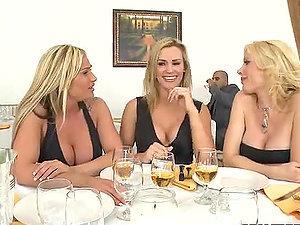 Three Blonde Tarts Having The Waiter's Big Man rod For Dinner