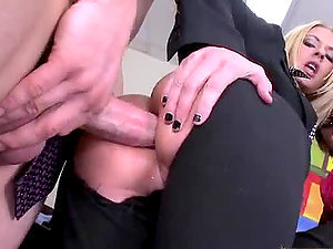Blonde Bosses Fucking Their Employees' Big Sausages In CFNM 4some