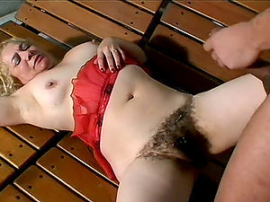 Blonde Mature Lady Has Her Hairy Cunt Fucked ByA Stiff Boner