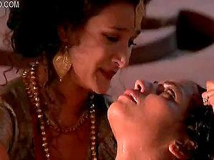 Hot Girl-on-girl Moment Inbetween Indian Honeys Indira Varma and Sarita Choudhury